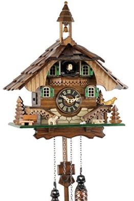Schwarzwälder Kuckucksuhr aus Echtholz mit batteriebetriebenem Quartzwerk und Kuckuckruf - Angebot von Uhren-Park Eble -Schwarzwaldhaus 32cm- - 1