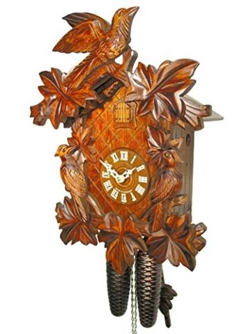 Schwarzwälder Kuckucksuhr/Schwarzwald-Uhr (original, zertifiziert),  8-Tage-Werk, mechanisch, 7 Laub, 3 Vogel, Kukusuhr, Kukuksuhr, Kuckuksuhr  ...