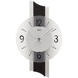 AMS Designer Wanduhr stilvolle Wand Quarz Uhr fürs Wohnzimmer Glas Schiefer Neu - 1