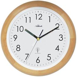 Atlanta Funk Wanduhr Funkuhr Runde Uhr mit Holzrahmen Landhaus- Stil modern Arabische Zahlen - 1
