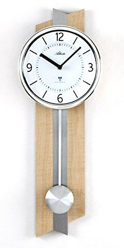 Atlanta Funkwanduhr mit Pendel Holz Metall Glas – 5101 -