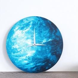HYSENM Erde leuchtende ruhige nicht-tickende lautlose Wanduhr im Dunkel leuchtend geeignet für Kinderzimmer Schlafzimmer aus Acryl, Durchmesser 30cm Blau -
