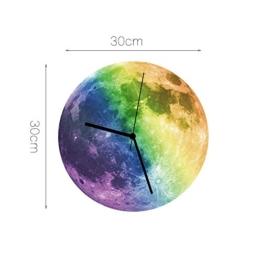 HYSENM Mond leuchtende fluoreszierende ruhige nicht-tickende lautlose Wanduhr Dekoration im Dunkel leuchtend geeignet für Kinderzimmer Schlafzimmer aus Acryl, Durchmesser 30cm Farbig -