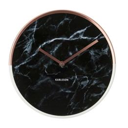 Karlsson KA5605BK Wanduhr Marble Delight Kupfern, schwarz, 5 x 30 x 30 cm -