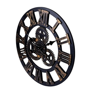 SOLEDI Wanduhr Europäische Vintage Handarbeit 3D Dekorative Zahnrad aus Holz (Farbe Kupfer) -