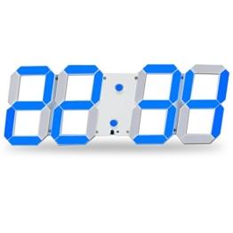 Bestland Große LED Uhr Digitale Wanduhr Fernbedienung Jumbo großen Zahlen 3D Entwurf Wecker mit Thermometer, Kalender, Snooze, Alarm, Countdown, Stunden / Minuten - Weiß/Blau LED Anzeige -