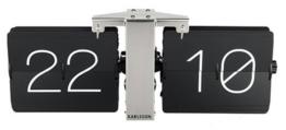 Karlsson KA5601BK Flip Uhr No Case, Standfuß, Metall, schwarz / verchromt, 8.5 x 36 x 14 cm -