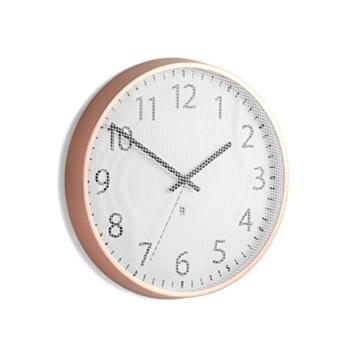 Umbra 118422-880 Perftime moderne Wanduhr aus Metall mit Gehäuse, kupfer / weiß -