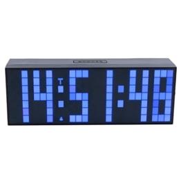ZJchao LED Wanduhr Digitale Datum Temperaturanzeige mit Fernbedienung (blau) -