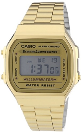 Casio Unisex Armbanduhr Collection Digital Quarz Gold Edelstahl A168Wg-9Ef -