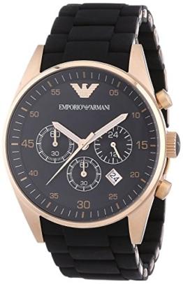 Emporio Armani AR5905 Herren Silikon Edelstahl Rose Gold Sport Quarz Chronograph -