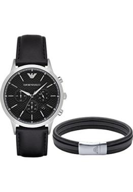 Emporio Armani Herren-Armbanduhr Analog Quarz One Size, schwarz, silber -