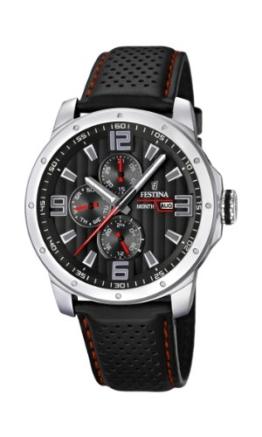 Festina Herren-Armbanduhr XL Sport Multifunktion Analog Quarz Leder F16585/8 -
