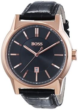 Hugo Boss Herren-Armbanduhr XL Architecture Round Analog Quarz Leder 1513073 -
