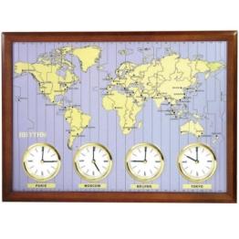 Rhythm 7902 Weltzeit-Uhr Quarz, Holzrahmen mit Metallzifferblatt -
