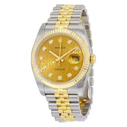 Rolex Automatisch Champagner Edelstahl Datejust Jubilee Gelb Stahl Uhr Herren 18kt Gold Zifferblatt und -