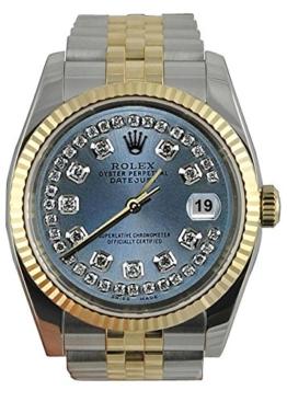 Rolex Datejust Herrenuhr grau Jubiläumsarmband SS & Gold -