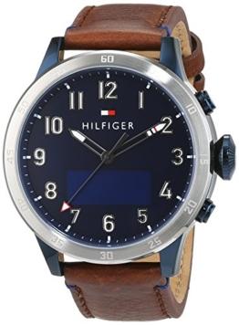 Tommy Hilfiger Herren-Smartwatch Casual Sport Analog - Digital Quarz Leder 1791300 -