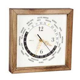 Wanduhr Holzrahmen retro Weltzeit Design Uhr -