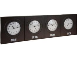 Wanduhr Weltuhr Weltzeituhr Bürouhr 4 Zeitzonen Metall 100 cm -