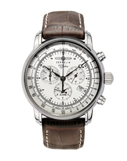 Zeppelin Herrenarmbanduhr Special Edition 100 Jahre Zeppelin Chronograph Alarm 12-Stunden-Stoppfunktion Quarz Silver 7680-1 -