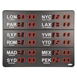 12 Städte LED Weltzeit Wanduhr-Monitor-306K (grau) -