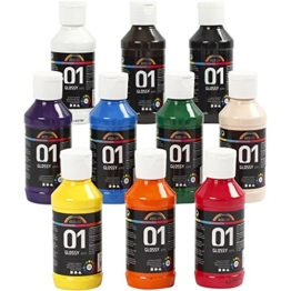 A-Color Acrylfarbe Sortiment Glänzend 32001 von Creativ Company - Bastelfarbe Acrylfarbe für Airbrush und Acrylbilder. 10 x 100 ml. -