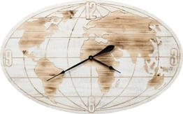 Kare Wanduhr News World, Holz, Weiß, 4.5 x 109 x 68 cm - 1