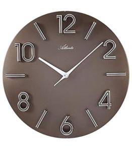 Atlanta Quarz Wanduhr moderne Wohnzimmer Uhr Farbe Braun 30cm Durchmesser Große arabische Zahlen Runde Form - 1