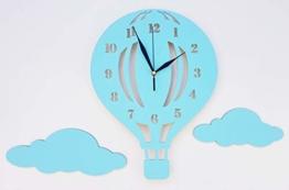 BABEES Kinder Wanduhr Ballon mit Wolken, Uhr ohne Tickgeräusche, Kinderuhr Heißluftballon für Kinderzimmer, Lautlos Uhrwerk, Wanddeko Scandi Deko Junge Blau - 1