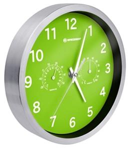 Bresser Wanduhr Mytime Thermo-/ Hygro mit Edelstahlrahmen und lautlosem Quarz Uhrwerk, grün - 1