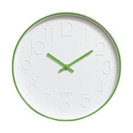 Dobess 12 Zoll Modern Quartz Lautlos Wanduhr Schleichende Sekunde ohne Ticken (Grün) - 1