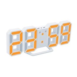 EAAGD Digital-LED-Wecker & Wanduhr, automatisch LED Helligkeit einstellen (Weiß / Orange) - 1