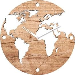 Eurographics World On Wood Wanduhr, Glas, Braun, 55 x 55 x 3.5 cm - 1