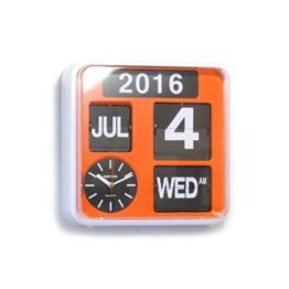 Fartech Retro Moderne Flip Wanduhr mit automatischem Kalender, 24 cm Orange - 1