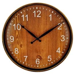 Foxtop Vintage Wanduhr mit lautlosem Uhrwerk - Ø 30 cm - kein nerviges Ticken Braun - 1