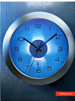 Funkuhr Funk- Wanduhr mit Beleuchtung DCF Signal Funkuhr mit Lichtsensor Uhr Dämmerungssensor Funkwanduhr Funk Wanduhr Bürouhr für Innen Außen Ziffernbeleuchtung Funkuhrwerk Große Ziffern Blaues Licht Uhr Nachtleuchtend - 1