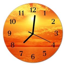 Glasuhr von DekoGlas 30cm runde Bilderuhr aus Acrylglas mit lautlosem Quarzuhrwerk Glaswanduhr Dekouhr Uhr Wanduhren aus PMMA Küchenuhr Glasbilder Wanddekoration Sonne orange - 1