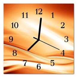 Glasuhr von DekoGlas 30x30cm quadratisch Bilderuhr aus Acrylglas mit lautlosem Quarzuhrwerk Dekouhr Glaswanduhr Uhr aus PMMA Wanduhren Küchenuhr Wanddekoration Glasbilder Abstrakt orange - 1