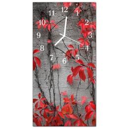 Glasuhr von DekoGlas 30x60cm waagerechte Bilderuhr aus Acryl-Glas mit lautlosem Quarzuhrwerk Dekouhr Glaswanduhr Uhr aus PMMA Wanduhren Küchenuhr Wanddekoration Glasbilder Blumen Rot - 1