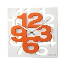 GMMH 3 D Moderne Design Wanduhr 1106 Küchenuhr Baduhr Bürouhr Dekoration ruhig (weiß orange) - 1
