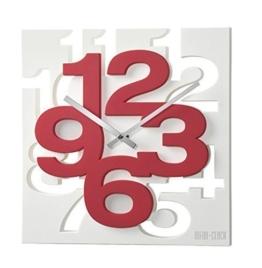 GMMH 3 D Moderne Design Wanduhr 1106 Küchenuhr Baduhr Bürouhr Dekoration ruhig (weiß rot) - 1