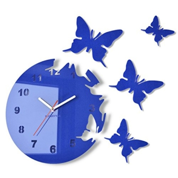 Große moderne Wanduhr Schmetterling Blau rund 30cm, 3d DIY, Wohnzimmer,  Schlafzimmer, Kinderzimmer