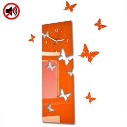 Große moderne Wanduhr Schmetterling Orange (vertikal) Querformat 60 x 20 cm, 3d DIY, Wohnzimmer, Schlafzimmer, Kinderzimmer - 1