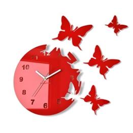 Große moderne Wanduhr Schmetterling Rot rund 30cm, 3d DIY, Wohnzimmer, Schlafzimmer, Kinderzimmer - 1