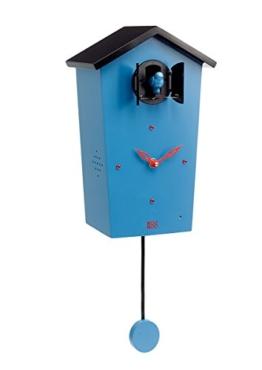 KOOKOO Birdhouse Limited Edition Blau Wanduhr mit 12 natürlichen Vogelstimmen aus der Natur oder Kuckucksuhr Moderne Design Singvogel Uhr mit Pendel - 1