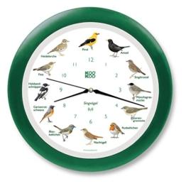 KOOKOO Singvogel grün, Wanduhr mit RC (radio controlled) Funkquarzwerk und Holzrahmen, 12 singende Vogel, original Aufnahmen aus der Natur (Jean Claude Roché), mit Lichtsensor - 1