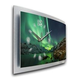 Kreative Feder Wanduhr Polarlicht Naturwunder 3D XXL Designer leise Funk Motiv Funkuhr Wandbild modernes Design WAA054FL (50x30cm) - 1
