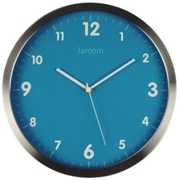 Laroom 12952–Wanduhr minimalacero Edelstahl satiniert, blau - 1