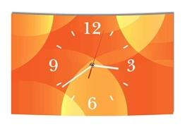 LAUTLOSE Designer Wanduhr Abstrakt orange rundes Muster modern Dekoschild Abstrakt Bild 39 x 25cm - 1